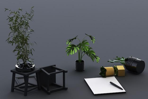 Odwrócony papier a4 z czarną podkładką, rośliną doniczkową, kaktusem, ramką i długopisem na szarym tle. renderowanie 3d
