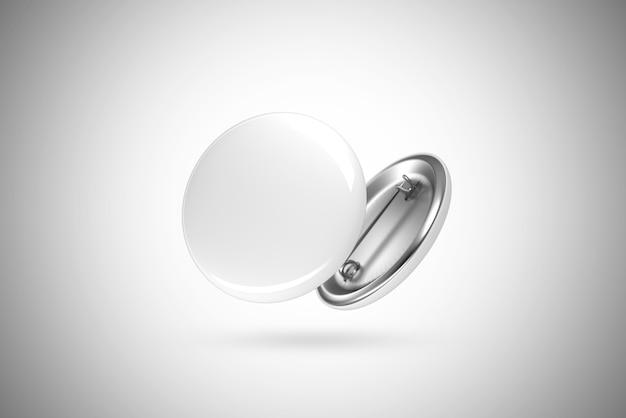 Odznaka pusty biały przycisk, na białym tle