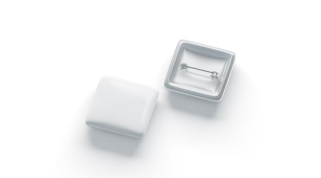 Odznaka pusty biały romb, przód i tył, na białym tle, renderowania 3d.