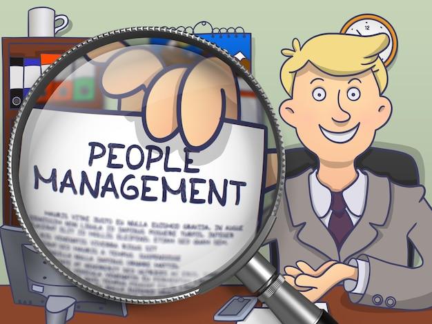 Officeman w garniturze patrząc na kamery i trzymając tekst na papierze koncepcji zarządzania ludźmi przez szkło powiększające. zamknąć widok. wielobarwny doodle ilustracja.