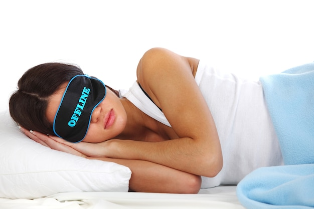 Offline Piękna Kobieta śpi Na Poduszce Premium Zdjęcia