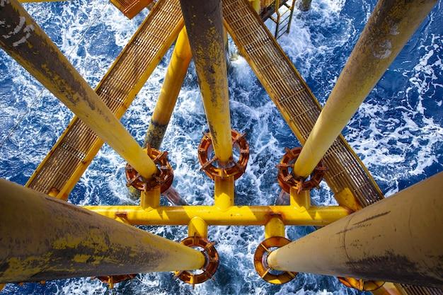 Offshore wiertniczy żółty rurociąg naftowy i gazowa fala morska produkcji ropy naftowej.