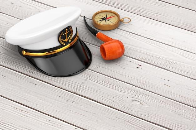 Oficer marynarki, admirał, kapelusz kapitana statku marynarki wojennej z fajką do palenia tytoniu i mosiężnym kompasem na drewnianym stole. renderowanie 3d