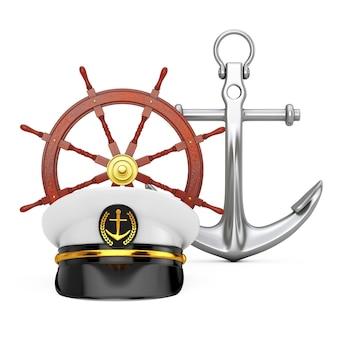 Oficer marynarki wojennej, admirał, kapelusz kapitana statku marynarki w pobliżu antycznego mosiężnego kompasu i kotwicy morskiej na białym tle. renderowanie 3d