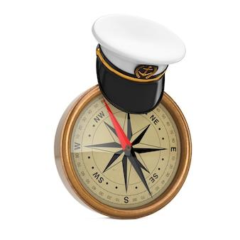 Oficer marynarki wojennej, admirał, kapelusz kapitana statku marynarki wojennej nad zabytkowym mosiężnym kompasem na białym tle. renderowanie 3d