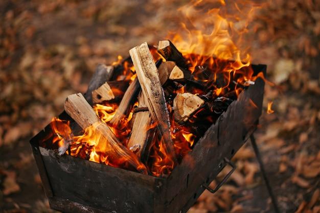Ogień w grillu