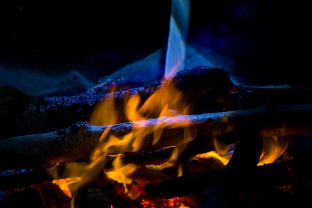 Ognisko, ogień i popiół, kolory niebieski i żółty