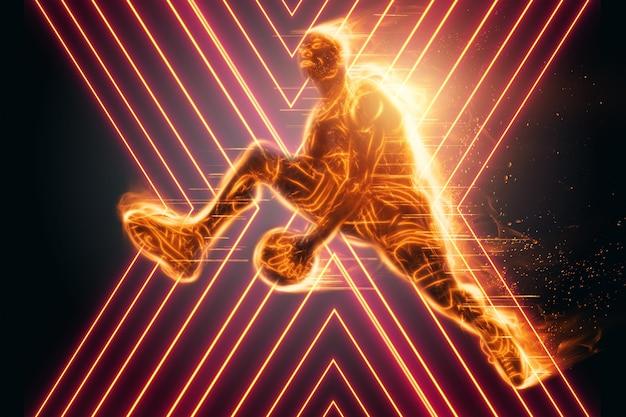 Ognisty obraz profesjonalnego koszykarza skaczącego z piłką. kreatywny kolaż, ulotka sportowa. koncepcja koszykówki, sport, gra, zdrowy styl życia. kopiowanie przestrzeni, ilustracja 3d, renderowanie 3d