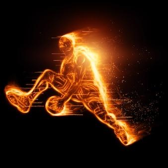 Ognisty obraz profesjonalnego koszykarza skaczącego z piłką. kreatywny kolaż, ulotka sportowa. koncepcja koszykówki, sport, gra, zdrowy styl życia. skopiuj miejsce, ilustracja 3d, renderowanie 3d.