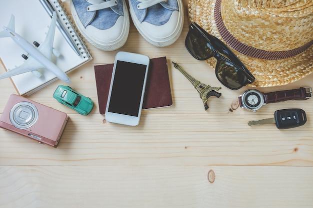 Ogólny widok akcesoriów i elementów hipster traveler