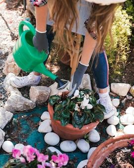 Ogólny widok kobiety podlewania roślin konewką