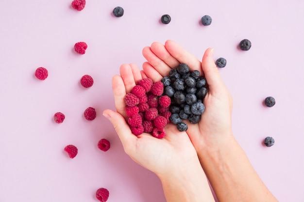 Ogólny widok rąk gospodarstwa czerwone maliny i jagody na różowym tle
