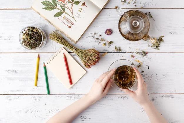 Ogólny widok różnych rodzajów herbaty. doprawiony assorted herbs, jabłkiem, różą z czajnikiem i filiżanką na rustykalnym stole