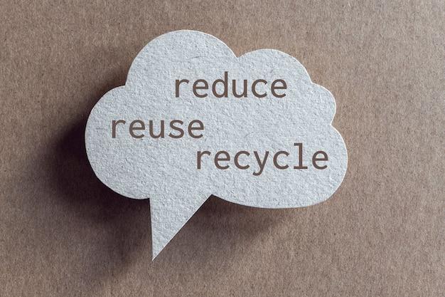 Ogranicz ponowne użycie, recykling słów wydrukowanych na dymku