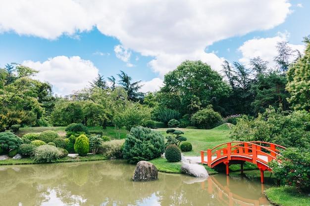 Ogród japoński i botaniczny w tuluzie, francuskim różowym mieście