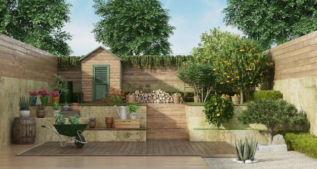 Ogród na dwóch poziomach z drewnianą szopą i drzewem owocowym