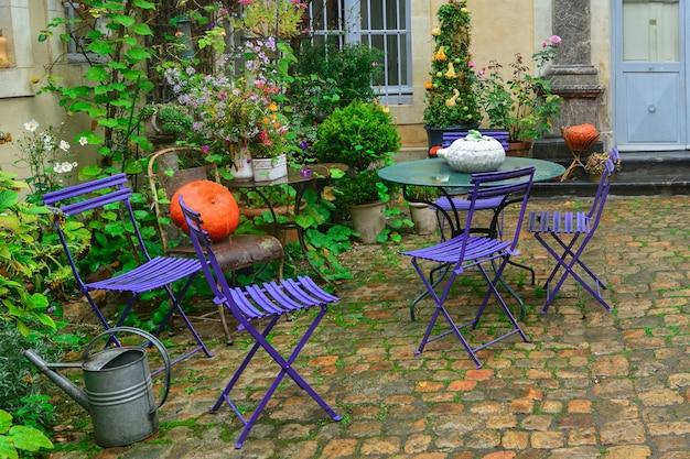 Ogród ozdobiony jesiennymi kwiatami, dyniami i roślinami.