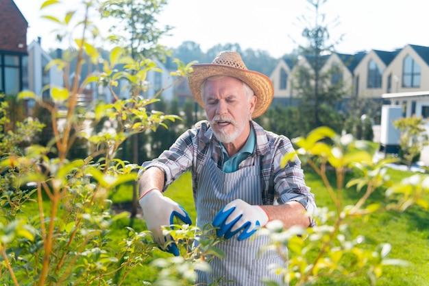 Ogród. przyjemny emerytowany mężczyzna czujący się dobrze spędzający czas na świeżym powietrzu