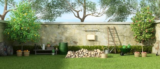 Ogród wiejski w słoneczny dzień