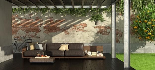 Ogród z żelazną pergolą