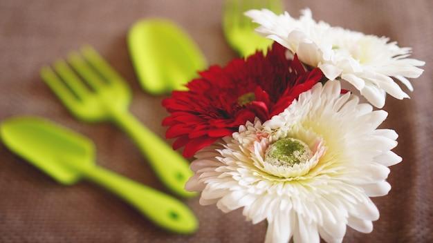 Ogrodnictwo tło. ogrodnictwo zielone narzędzia i kwiaty - nieostrość