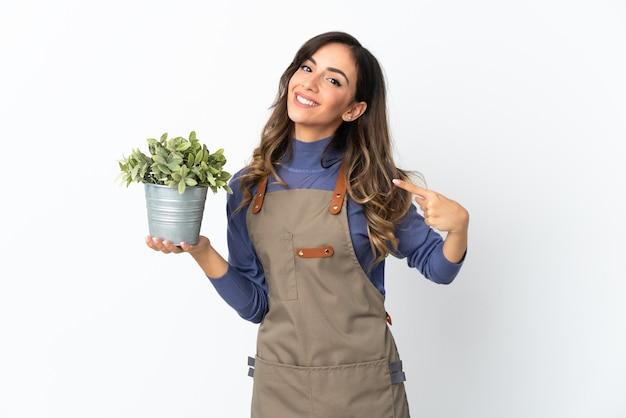 Ogrodnik dziewczyna trzyma roślinę na białym tle na białej ścianie, dając gest kciuki do góry