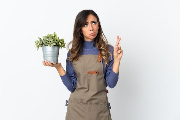 Ogrodnik dziewczyna trzyma roślinę na białym tle na białej ścianie z palcami krzyżującymi i życząc wszystkiego najlepszego