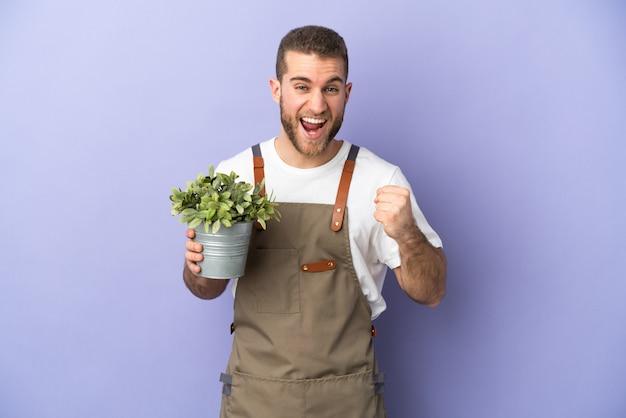 Ogrodnik kaukaski mężczyzna trzyma roślinę samodzielnie na żółto świętuje zwycięstwo w pozycji zwycięzcy