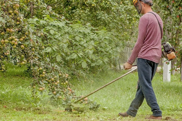 Ogrodnik przy użyciu maszyny do cięcia zielonej trawy w ogrodzie. sprzęt ogrodniczy. młody człowiek koszenia trawy trymerem