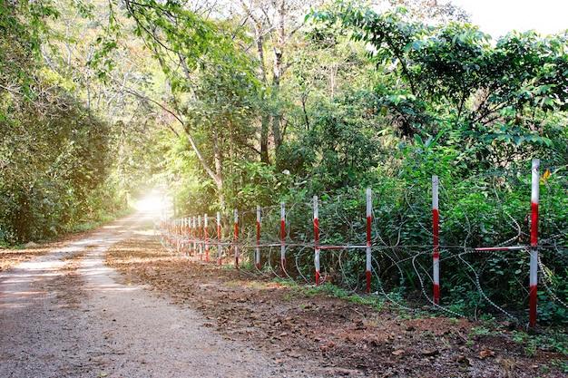 Ogrodzenie z drutu kolczastego na wsi