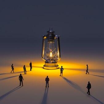 Ogromna lampa naftowa z płomieniem i ludźmi idącymi w stronę światła. modele renderowania 3d