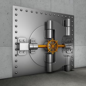 Ogromne drzwi pancerne w złotym skarbcu. renderowania 3d