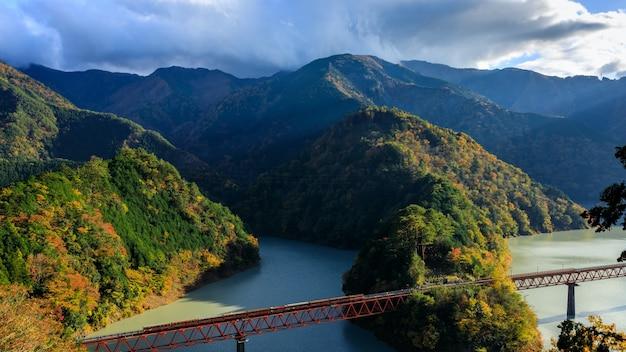 Oigawa railway ikawa line stacja okuoikojo i rainbow bridge sceneria prefektury shizuoka w japonii widok krajobrazu w sezonie jesiennych liści