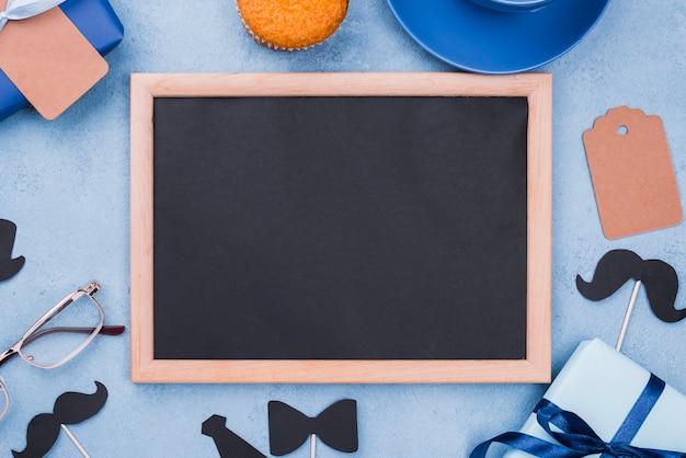 Ojca dnia odgórny widok z chalkboard kopii przestrzenią