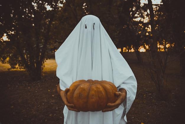 Ojciec i syn bawią się duchami z białymi prześcieradłami w ogrodzie, koncepcyjne zdjęcia z wakacji na halloween