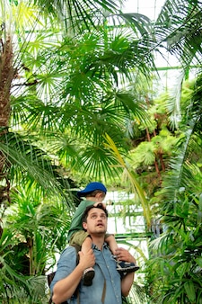 Ojciec i syn w szklarni palm w ogrodzie botanicznym