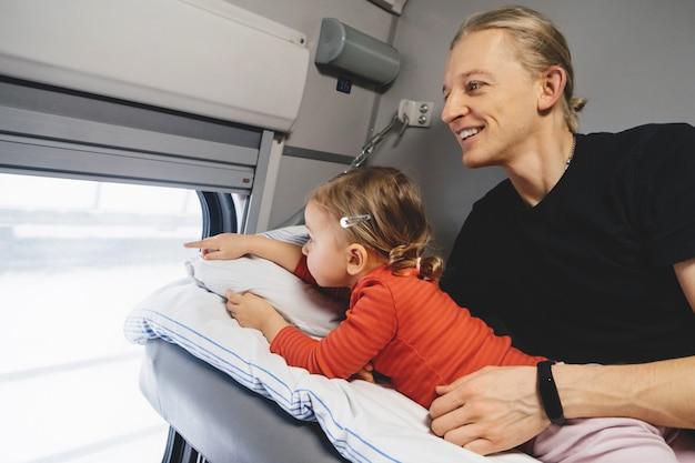 Ojciec z dzieckiem podróżującym pociągiem, bawiący się sceną przez okno