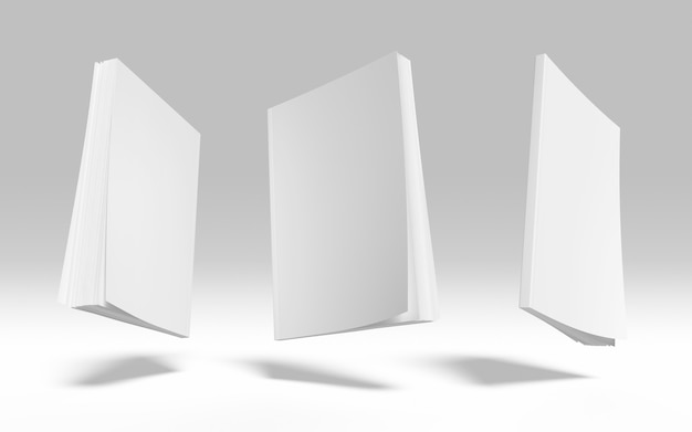 Okładka książki pusta makieta biznesowa zestaw 3d render ilustracja