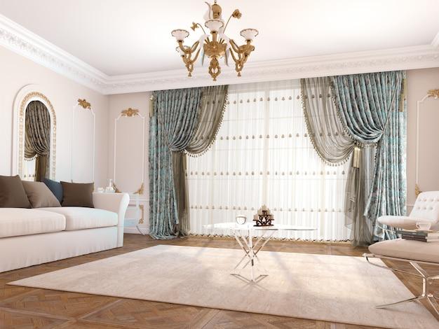 Okno kurtynowe z dekoracyjnym
