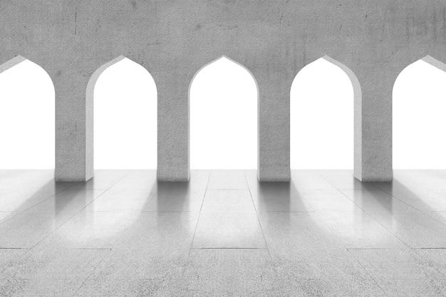 Okno meczetu na białym tle nad białym tle