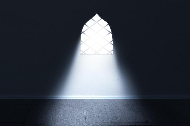 Okno meczetu z jasnym światłem