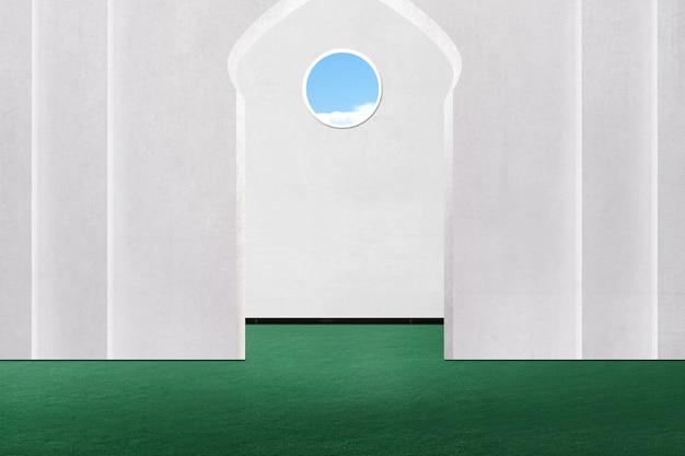 Okno meczetu z powierzchnią błękitnego nieba
