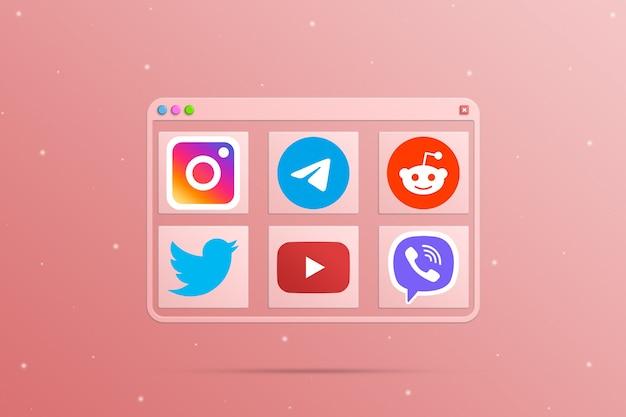 Okno przeglądarki z elementami ikony logo mediów społecznościowych 3d