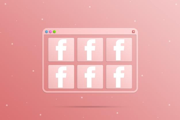 Okno przeglądarki z elementami ikony logo sieci społecznościowej instagram 3d