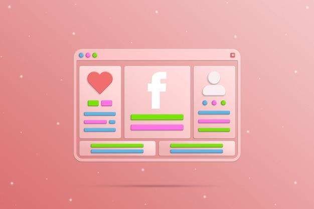 Okno przeglądarki z elementami społecznościowymi sieci facebook profil społecznościowy użytkownika i aktywność 3d