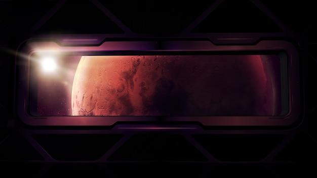 Okno statku kosmicznego z widokiem na planetę mars