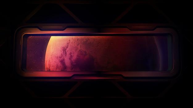 Okno statku kosmicznego z widokiem na planetę mars.