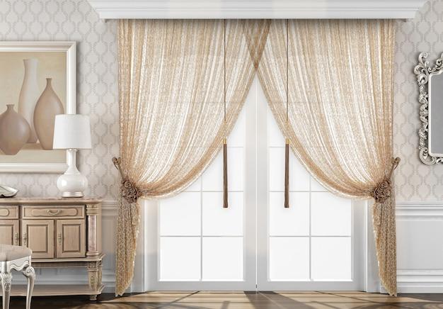 Okno z dekoracją kurtyny