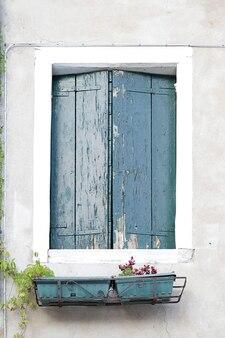 Okno z zielonymi drewnianymi okiennicami na białej ścianie. na parapecie kilka roślin doniczkowych, wenecja, włochy