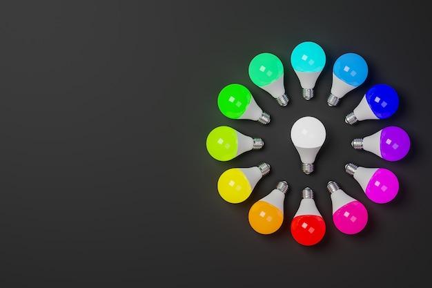 Okrąg chromatyczny renderujący 3d złożony z żarówek o kolorach skali chromatycznej